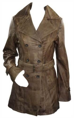 Vintage 100 Military Jakke Brown Midlængde Real Blazer Ladies Læder gqw1Xg