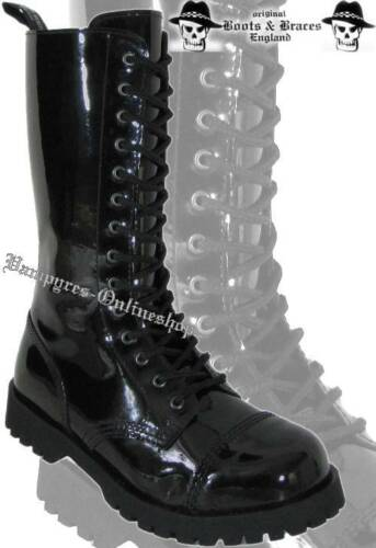 Boots /& Braces 14 agujeros charol rangers botas con tapa de acero negro Noir Nero