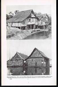 Architecture-Malay-Village-or-kampong-Houses-on-Rafts-1937-Lithograph