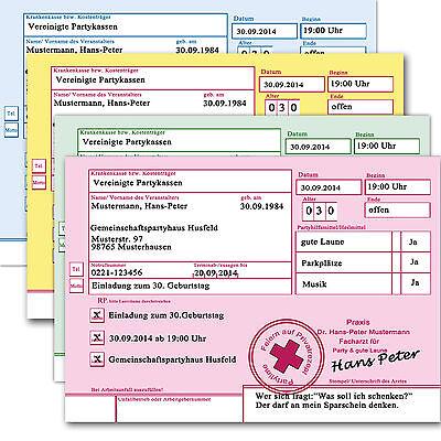 Privatrezept Privat Rezept Einladungskarten Einladung Geburtstag Arzt Party