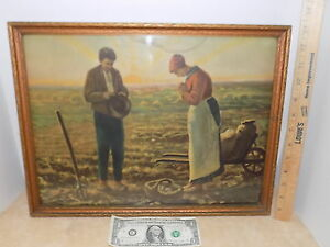 Vintage Picture Framed Harvest Giving Thanks Crops Man & Woman 2447 The Angelus