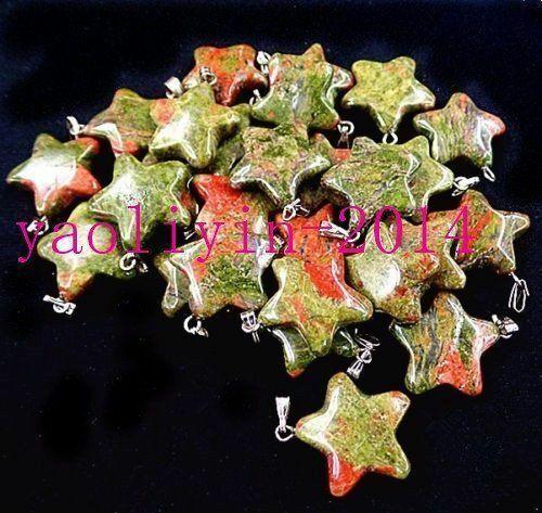 20Pcs Choix Multiple Mixte Gemstone Agate Pendentif Pentagramme Perle 20x6mm ET1651