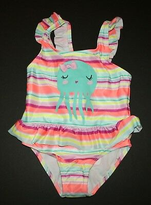 NEW Gymboree Girls 1 Piece Swimsuit Seahorse Pink Ruffle Straps 2T 3T 4T 5T