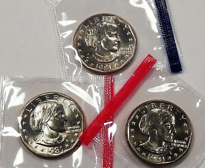 3 coins 1981 P D S Susan B Anthony Dollar Set *MINT CELLO*  **FREE SHIPPING**