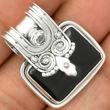 Black Onyx & White Topaz 925 Sterling Silver Pendant Jewelry SP221460