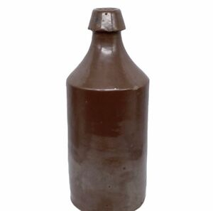 Antique-Primitive-Americana-Brown-Slip-Stoneware-Beer-Bottle-Blob-Top-10-25-H