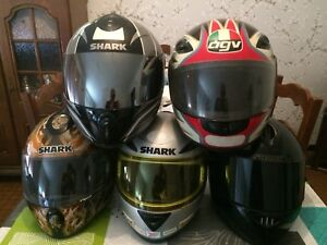 Lot 7 Casque Intégral Shark Moto Scooter Carbon Rsr2 Agv Black