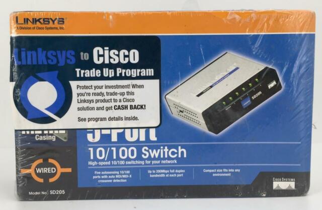 Cisco Linksys 5-Port 10//100 Switch SD205 w//Adapter