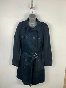 WOMENS-MARKS-amp-SPENCER-NAVY-BLUE-SLEEVE-DETAIL-CASUAL-TRENCH-COAT-JACKET-SIZE-16