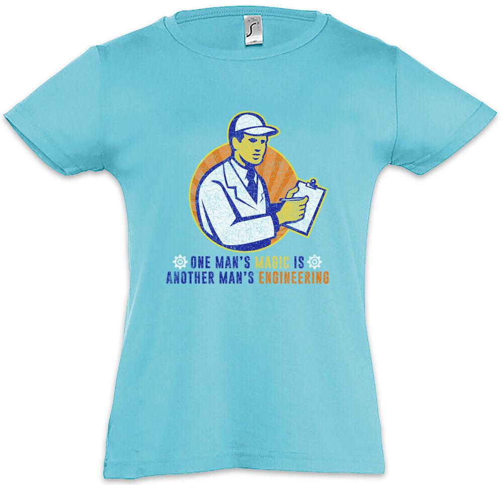 Copieux One Man's Magic Is Another Man's Engineering Enfants Fille T-shirt Ingénieur En Voyageant