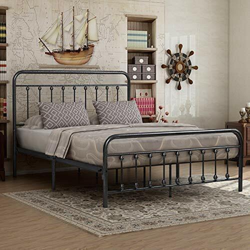 Queen Bed Frame Vintage Iron Rustic Country Vintage Headboard Footboard  Bedroom