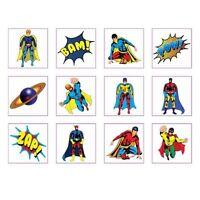 24x SUPER HERO TEMPORARY TATTOOS Boy Girls Party Bag Fillers Childrens Kids UK