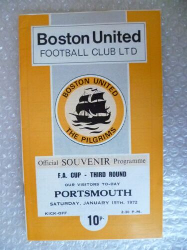 1972 BOSTON UNITED v PORTSMOUTH, 15th Jan FA Cup 3rd RD