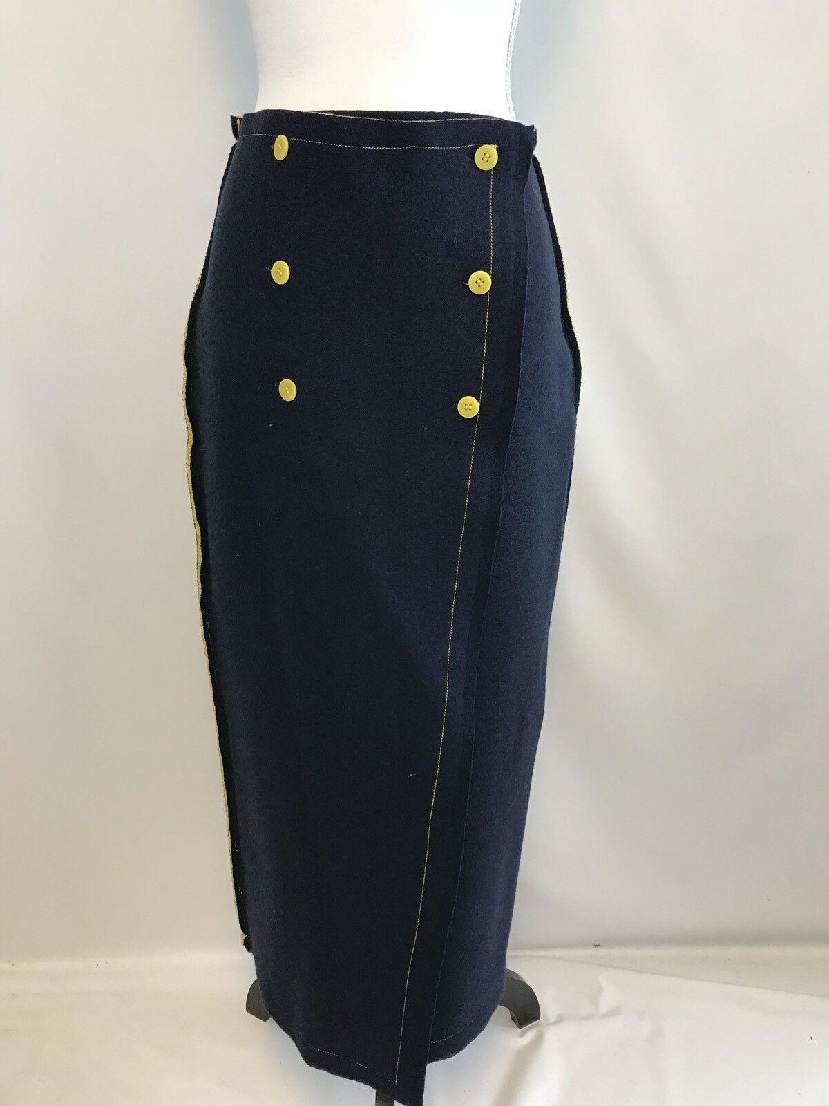 New J Crew Collection Nautical Wrap Sweater-skirt bluee Yellow Sz S G0516