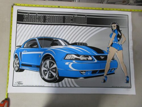 2004 Car Poster Shake Some Action Blue Mustang Mach 1 Stainboy S//N#100 Pinup