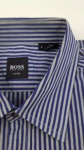 HUGO-Boss-LARGE-Shirt-STRIPED-Multicolor-GRAY-Blue-MENS-Size-FITTED-Slim-SZ-Man