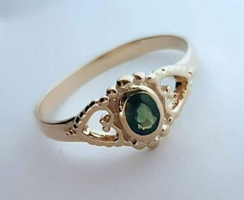 Details about  /R144 Genuine 9K or 18K Solid Gold Natural Tourmaline Ring Friendship Love Hearts