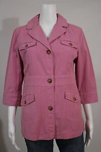 Orvis-Misses-8-Pink-3-4-Sleeve-Cotton-Casual-Car-Coat-Jacket