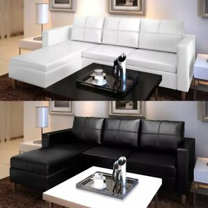 Details about Sofa L-shaped Corner Couch Artificial Leather Sectional Seats  Longue 3-Seater