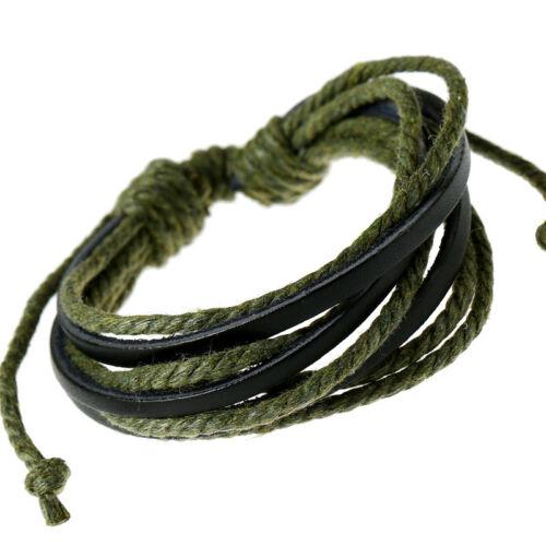 Charm Handmade Rope Leather Bangle Punk Men Surfer Wrap Braided Cuff Bracelets