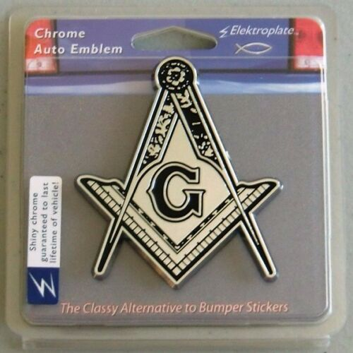 Masonic Chrome Auto Emblem Square Compass With Detail Freemason