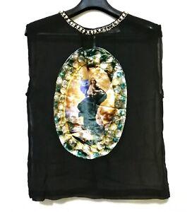 Mama Mary Velour Print Sheer Sleeveless Top