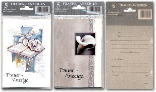 50 Trauerkarten Totenbriefe Trauer-Anzeigen 10x5er-Set Grußkarten 81-9309 A