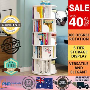 1.6m Wooden 5 Tier Rotating Revolving BookShelf Bookcase White Decor Organiser