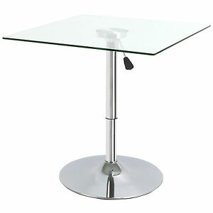 Image Is Loading SQUARE ADJUSTABLE CLEAR GLASS BISTRO DINING TABLE CAFE