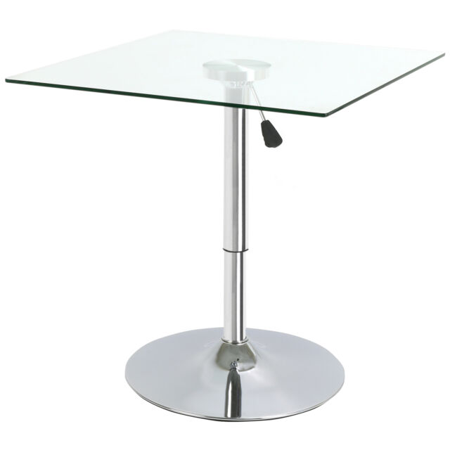 Glass Square Bar Table Pub Bistro Cafe Breakfast Tall Dining Kitchen