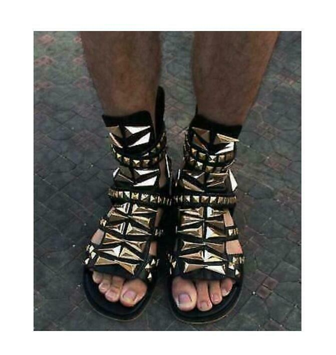 Hot Mens Gladiator Real Leather High Top Rome Beach Sandals Open Toe shoes Boot
