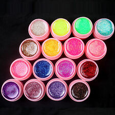 16pcs Mix Glitter Colors Nail Art UV Builder Gel Set for Natural Nails - PINK