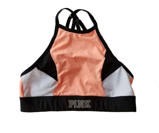 Victoria's Secret Pink Ultimate High Neck Strappy Sport Bra Colorblock Orange L