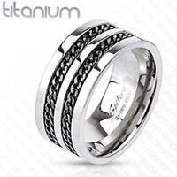 Titanium Men's 10 Mm Black Chain Comfort Fit Wedding Band Ring Size 9-13