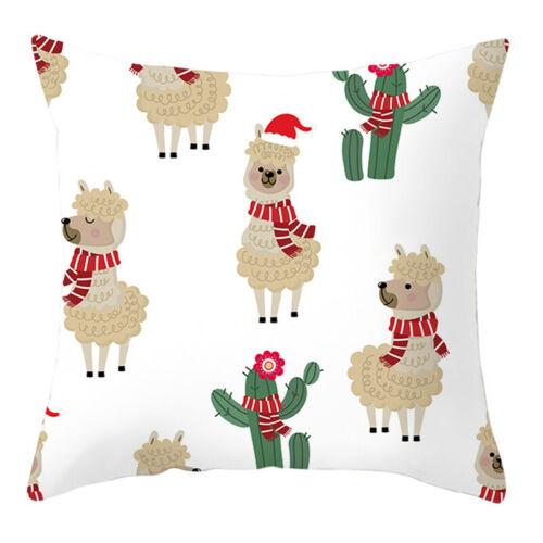 Christmas Cotton Linen Santa Throw Pillow Case Cushion Cover Sofa Car Xmas Decor