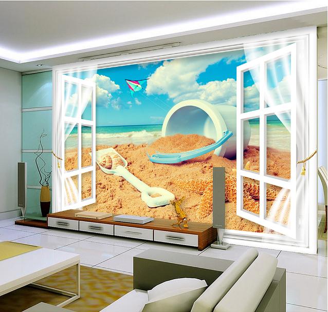 3D Fenster Strand Himmel 853 Tapete Wandgemälde Tapete Tapeten Bild Familie DE