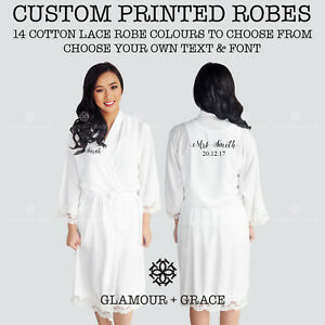 9e6e4b5a99 Image is loading CUSTOM-Personalised-Printed-Bridal-Cotton-Lace-Robe-Bride-