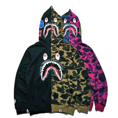 New BAPE Bathing Ape Embroidery Shark Head Men/'s Thin Flight Bomber Jacket Coat