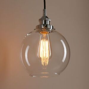 Permo-Vintage-Industrial-Clear-Glass-LampShade-Loft-Brass-Ceiling-Pendant-Light