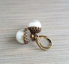 Handmade White Glass Pearl Acorn Earrings