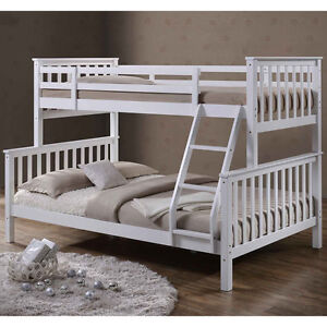 Triple Bunk Bed White Solid Wooden 3 Sleeper Bed Frame Double