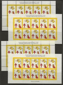 Denmark-DJF-1970-Angels-Xmas-TB-Seal-Sheets-4-diff-Perf-Imperf-VF-NH