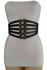 Women Black Faux Leather Elastic Wide Fashion Corset Belt Waist Gold Studs S M