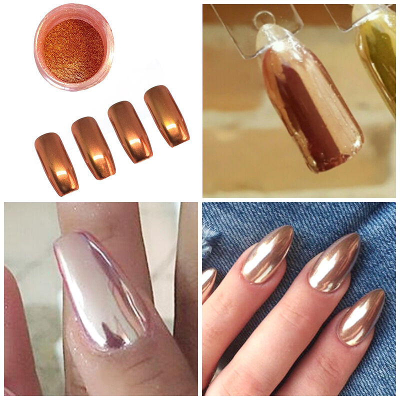 MIRROR POWDER CHROME EFFECT Pigment NAILS New Rose Gold Silver Nail ...