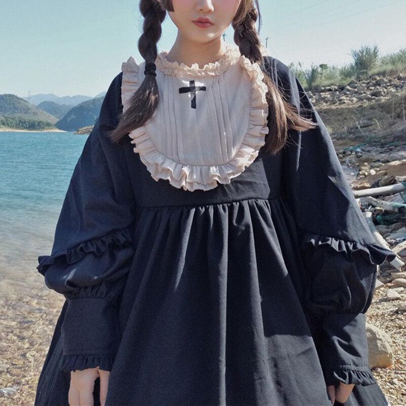 Girl Long Puff Sleeve Lolita Princess Dress Frill Trim Gothic Vintage Tunic Cute