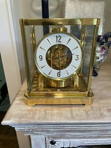 Vintage  Swiss Jaeger LeCoultre Atmos 528-8 Brass Mantle Clock SN 252962