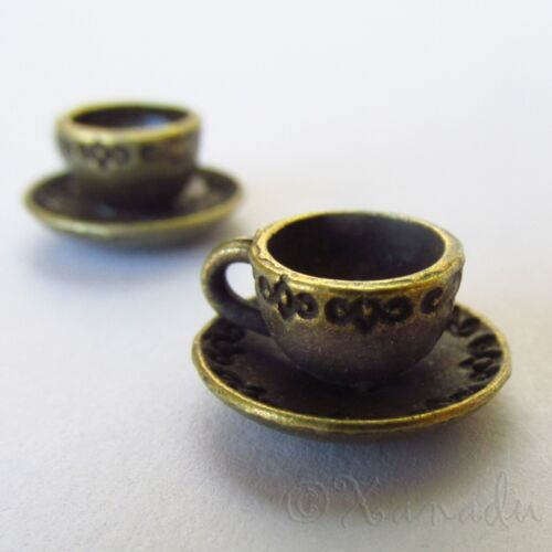 20 or 50PCs Teacup Charms 14mm Antiqued Bronze Tea Pendants C1793-10
