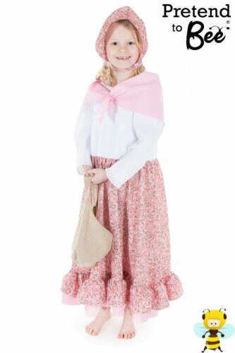 GIRLS KIDS VICTORIAN LADY FLOWER SELLER FANCY DRESS COSTUME OUTFIT AGE-5-7-9-11