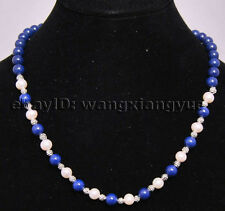 """Natural White Akoya Cultured Pearl/Lapis Lazuli /Tibet silver Beads necklace 18"""""""