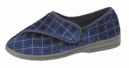 MENS BLUE SIZE 6 7 8 9 10 11 12 TOUCH STRAP WIDE NON SLIP RUBBER SOLE SLIPPERS